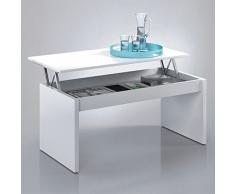 Due-home (Zenit) - Mesa de centro elevable , acabado blanco brillo , dimensiones 100 cm x 50 cm x 43 cm