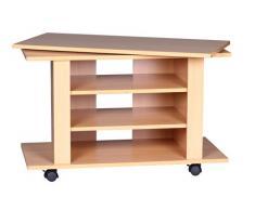 Wohnling WL1.340 - Mueble para televisión (75 x 38 x 51 cm, giratoria, con ruedas, madera de haya)