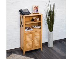 Relaxdays Lamell Armario de baño de bambú, 92 x 50 x 25 cm, con 2 Asas y Puertas, Armario de baño o Armario Auxiliar con estantes de Madera, Color Natural