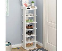 Baiyun Flyin Estante De Madera para Gabinete Simple para Zapatos Estante Vertical para Zapatos De 6 Mangas Adecuado para La Esquina del Pasillo del Dormitorio 24x24x103.5cm (Color : White)