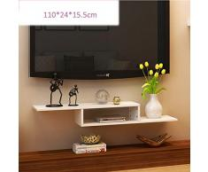 MU Estanterías para el hogar Estanterías Consola de TV de Estante Flotante de Montaje en Pared de 2 Niveles para Cajas de Cable/enrutadores/Controles remotos/Reproductores de DVD/bastidores d