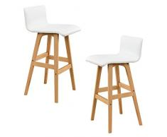 [en.casa] 2x taburetes / silla de bar - (haya - blancos) piel sintética