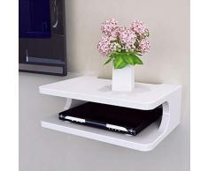YANQ Estante Flotante para componentes de televisión, Consola de Medios montada en la Pared de Metal, 2 Niveles, para decodificadores/enrutadores/remotos/Reproductores de DVD/Consolas de Juegos (co