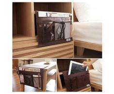Sede noche Caddy estante para cama sofá portátil bolsa almacenamiento colgante reposabrazos con bolsillos organizador de sofá silla para mando a distancia teléfono gafas libro revista iPad iPhone