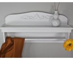 Estantería de pared toallero estante madera blanco antiguo especiero Madera Estantería