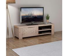 Tidyard Mesa para TV con 4 Ruedas Mueble TV Salón Mesa Televisión Mueble Comedor con 2 Prácticas Salidas para Cables de Estilo Rústico 140x38x40cm