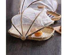L/â Vestmon bamb/ú Cubierta Carrier handgeflochtenem Cesta Protege Alimentos y Bebidas de Bugs Resistente al Polvo Pan Frutero Cesta de Picnic con Gasa