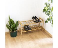 Relaxdays 10019017_347 - Estante para zapatos de bambú, 2 pisos, 40.5 x 69 x 26 cm