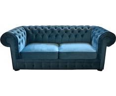 Casa-Padrino sofá 2 plazas de Cuero Genuino Naranja 180 x 100 x H. 78 cm - Sofá Cama Chesterfield de Lujo