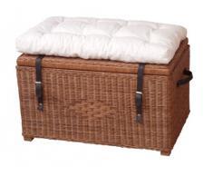 moebel direkt online - Baúl rattan asiento con cojín - 45x76x48, ratán, blanco lavado