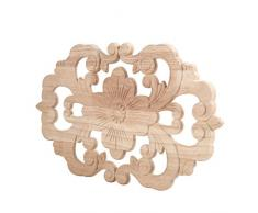 Paquete de 2 muebles de apliques de madera tallada en esquina Onlay sin pintar para la decoración del gabinete de la puerta de su casa(30*19CM)