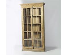 Vitrina cuadrícula pequeña, 2 puertas de pino AuthentiQ/KH210 reciclado