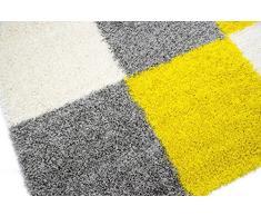 Shaggy Alfombra Peludo Alfombra de pelo largo Moquette alfombra de la sala Karo verde gris crema amarillo Größe 60x110 cm