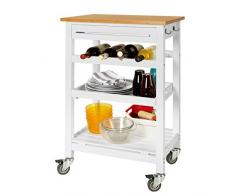 SoBuy® Carrito de servir, estantería de cocina, carrito de cocina móvil, FKW16-WN,ES