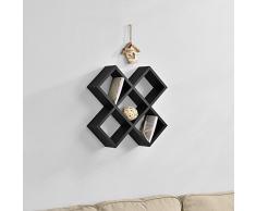 [en.casa] Estantería de pared con forma de X negro mate diseño retro