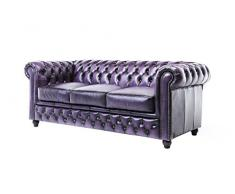 The Chesterfield Brand - Sofá Chester Brighton Púrpura Gastado - 3 plazas - Hecho artesanal en cuero natural