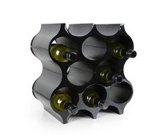 Sistema Botellero modular SET-UP, capacidad 8 botellas, negro, apilable / ampliable - alt. 35,4 x anch. 36 x pr. 23,3 cm