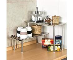 bremermann® estantería de cocina, estantería universal, estante para especias en esquina, acero inoxidable