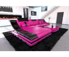 moderno sofá de cuero Turino en forma de l Fucsia Negro