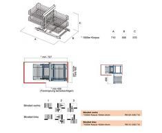 Armario de esquina (Sistema - Corner Comfort Izquierda, para cuerpo ancho 1000 mm, profundidad 500 mm Altura 570 mm, blindteil Derecho,