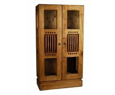 Vitrina mexicana dos puertas de madera maciza