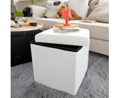 SoBuy Taburete, puff caja, banco, puff, FSS17-K-W (blanco, 38cm largo)