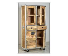 """SIT-Möbel 2204 - 01 vitrina """"Roadies, mango madera sin tratar, color natural con aluminio empañamiento en goma ruedas, 2 puertas de cristal, 2 puertas de madera, 2 cajones, 1 estante detrás de las puertas de cristal, 90 x 40 x 180 cm"""