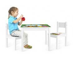 Set de muebles para niños, 1 mesa y 2 sillas, imágenes de animales en la selva.