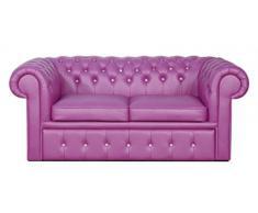 Casa-Padrino sofá de 2 plazas de Cuero Genuino en Color Violeta con Piedras Brillantes 180 x 100 x H. 78 cm - Sofá Cama Chesterfield de Lujo