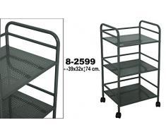 DonRegaloWeb - Carro - estantería de metal de 3 baldas con ruedas de PVC en gris