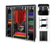 Todeco - Armario ropero de tela de color negro-Guardarropa 3 puertas y cierre Zip