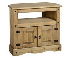 Mueble de TV de esquina, de pino macizo