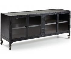 Mueble de televisor de hierro con 4 Cajonesl. Incluye ruedas Industriales