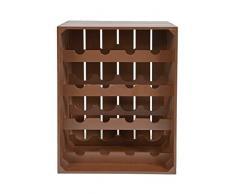 ts-ideen - Botellero estante de vino de madera marrón para 16 botellas de vino Länge: (79)