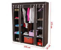 Songmics- Armario Closet ropa organizador Textil Plegable Color de café 180 x 150 x 45cm LSF03K