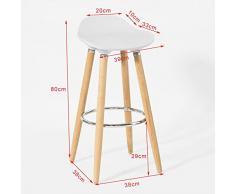 SoBuy® Taburete de bar con patas de madera de haya natural, asiento en color Blanco,Estilo escandinavo, FST34-W, ES