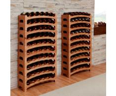 Botellero BOUQUET, madera maciza de pino, color cereza, apilable / ampliable - alt. 26 x anch. 68 x pr. 25,5 cm