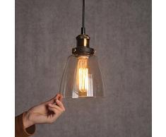 De cristal colgante de la instalación de la sombra de techo de estilo vintage de las lámparas-DE luz de - E27 Cap sin bombilla