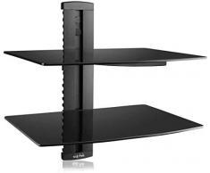 Suptek 2 Estante flotante (vidrio templado) para reproductores de DVD/accesorios de TV, negro CS202