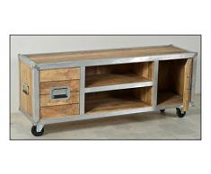 """Sit-Möbel 2215-01 TV-bajo """"de los plomos"""", mango de madera sin tratar, de color aluminio formación en goma ruedas, 2 cajones, 2 bolsillos abiertos, con dimensiones 60 x 39 x 13,5 cm sin estantes, 140 x 40 x 50 cm"""