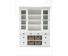 Nova solo bca600 Buffet Biblioteca vitrina con/4 cestas caoba/MDF color blanco 180 x 50 x 220 cm