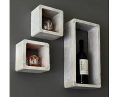 Juego de 3 cubos para la Sala, estilo antiguo, Estantería para pared Fijación para pared, en madera maciza, en blanco 'Shabby'