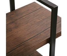 Versa 10330113 Estantería de Pared 5 baldas Madera aglomerada y Metal, MDF, Marrón/Negro, 179 x 33 x 100 cm