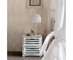 Rebecca Mobili Mesita de Noche Blanca y Gris, cómoda de Madera, 2 cajones, Estilo Shabby, Dormitorio baño - Medidas: 36 x 35 x 24 cm (AxANxF) - Art. RE4597