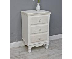 Cómoda Rose Blanco y beige diseño rústico mesilla de noche cajones