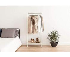 Iris Ohyama Garment Metal Rack PI-B1 Perchero/Espacio de almacenaje con Zapatero de metálico Madera PI-B1-Roble Claro y Blanco, 64 x 40 x 150 cm, MDF