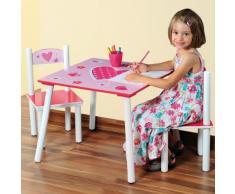 Kesper 17722 1 - Mesa Infantil con 2 sillas y Dibujos de Corazones (conglomerado de Fibra de Madera de Densidad Media, FSC)