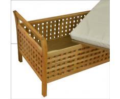 Asiento de madera/ arcón + Cojín beige, para sentarse y guardar cosas