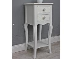 Mesilla de noche blanco y beige Rose mesa de centro mesa auxiliar de madera rústico