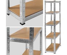 TecTake Estantería metálica 750kg garaje unidad de almacenamiento 150kg por estante 180x90x40cm